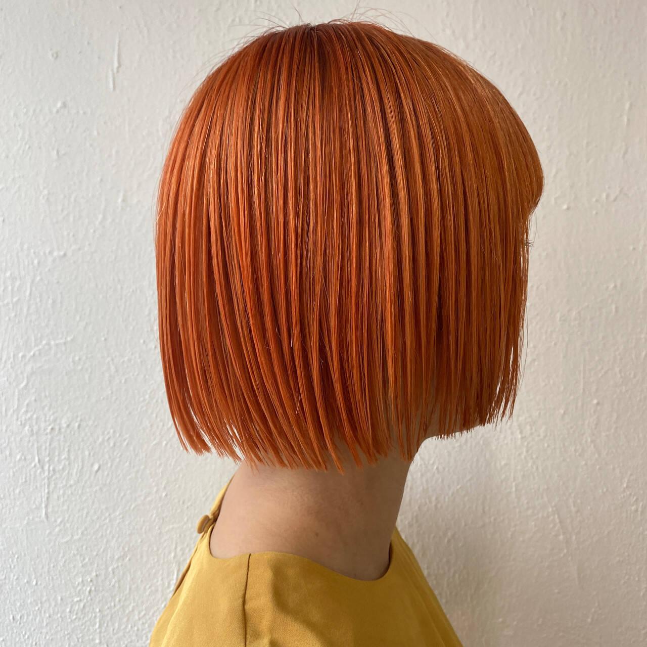 ショート ショートヘア オレンジカラー ナチュラルヘアスタイルや髪型の写真・画像