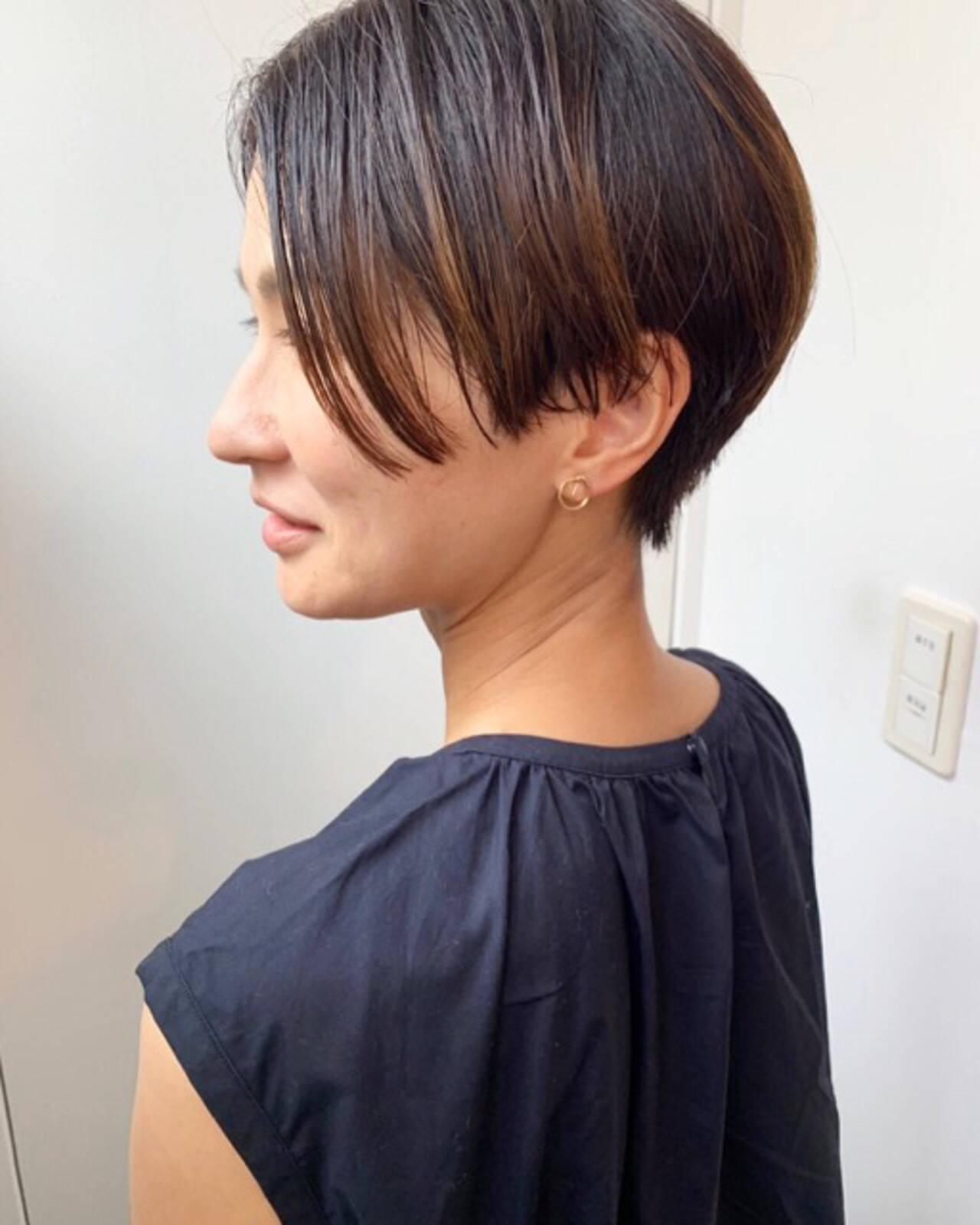 マッシュショート ショート ナチュラル ハンサムショートヘアスタイルや髪型の写真・画像