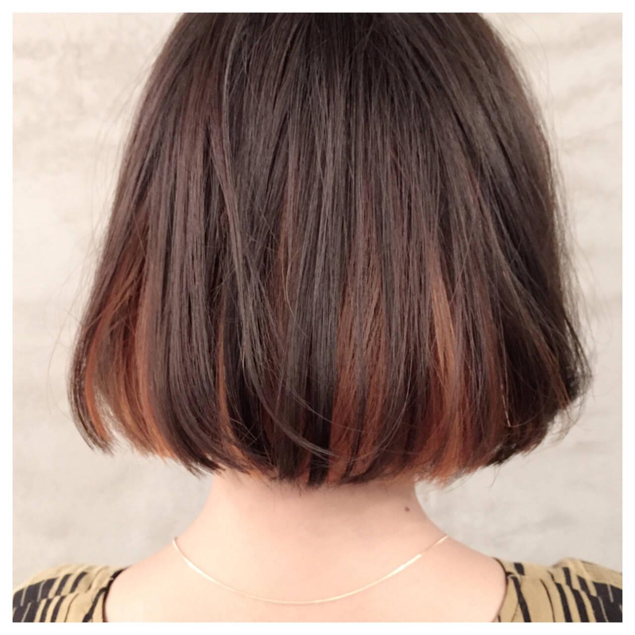 イエロー アッシュ インナーカラー ボブヘアスタイルや髪型の写真・画像