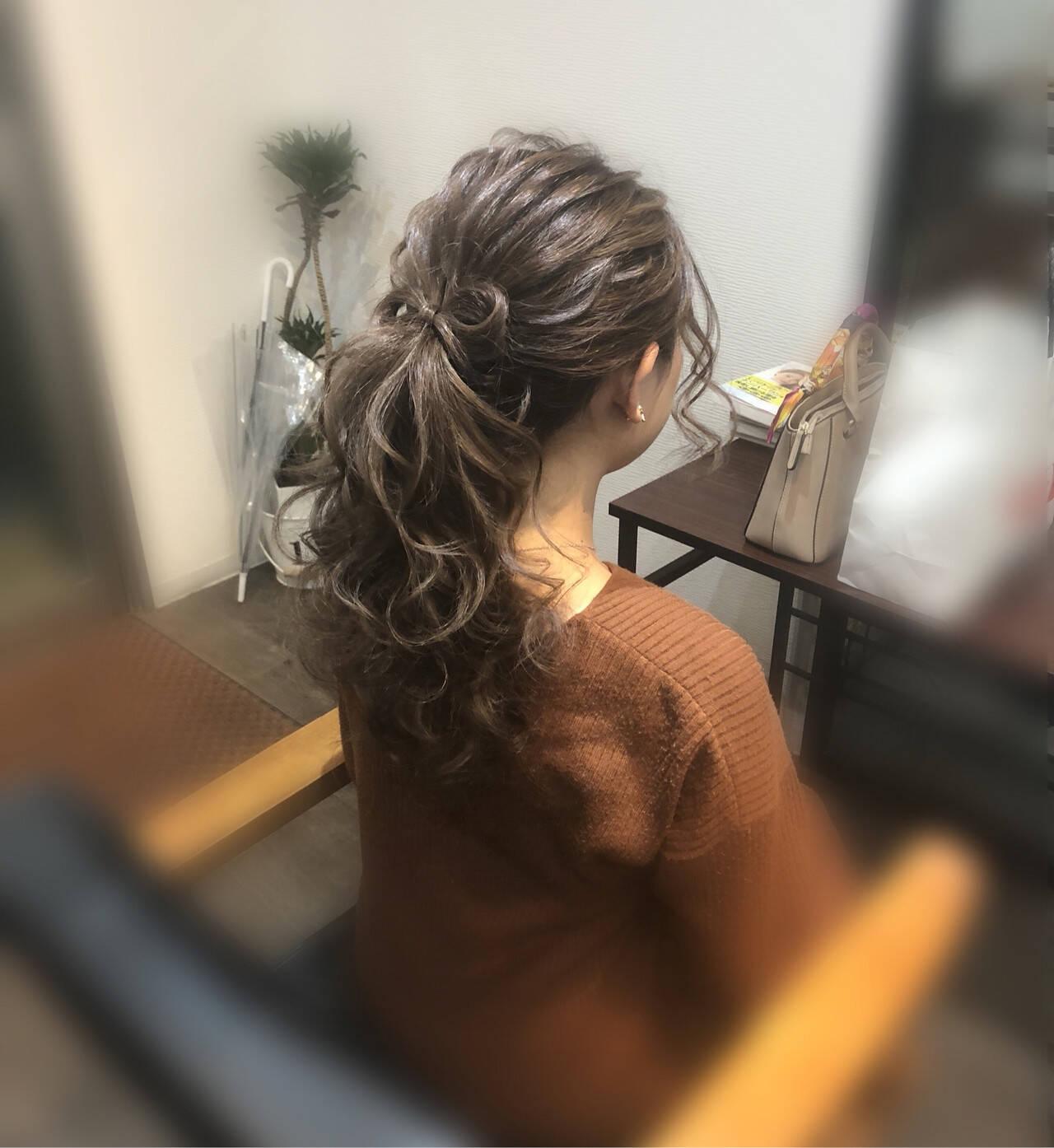 リボンアレンジ ヘアセット ガーリー 結婚式ヘアスタイルや髪型の写真・画像
