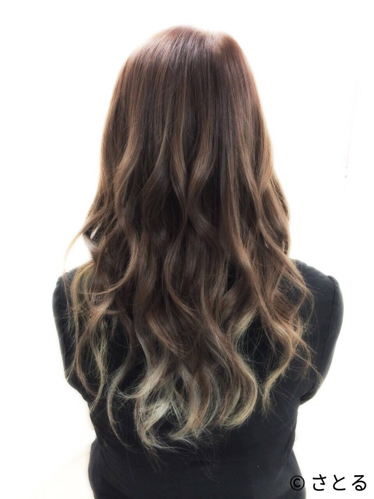 外国人風 グラデーションカラー ナチュラル インナーカラーヘアスタイルや髪型の写真・画像