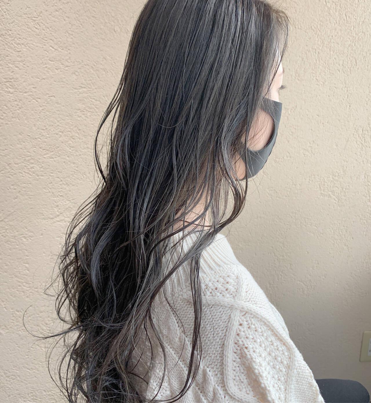 コントラストハイライト ロング アンニュイほつれヘア ナチュラルヘアスタイルや髪型の写真・画像
