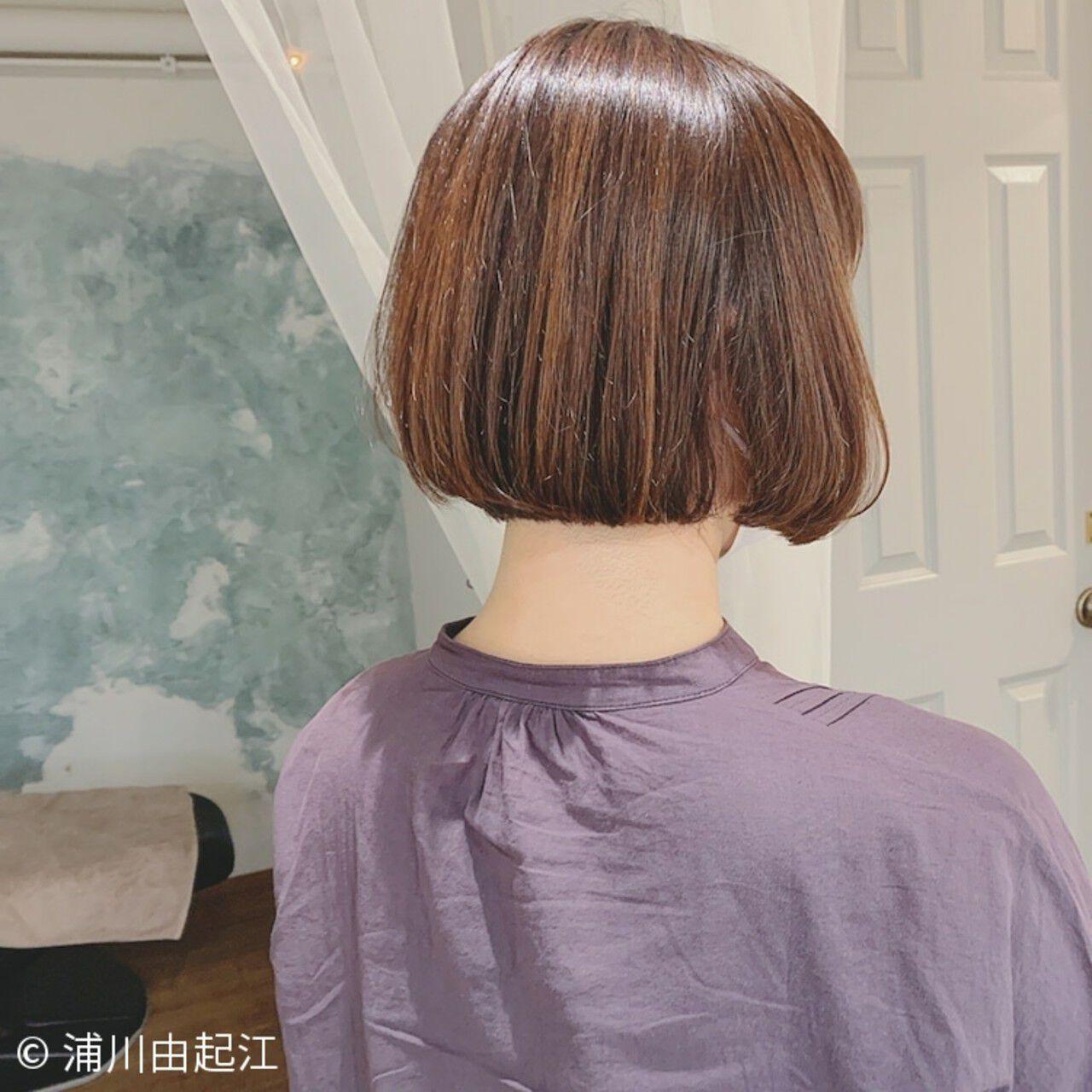 グラデーションカラー ゆるふわ ボブ ナチュラルヘアスタイルや髪型の写真・画像