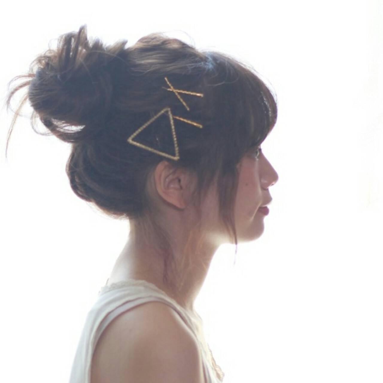ロング ショート ヘアアレンジ お団子ヘアスタイルや髪型の写真・画像