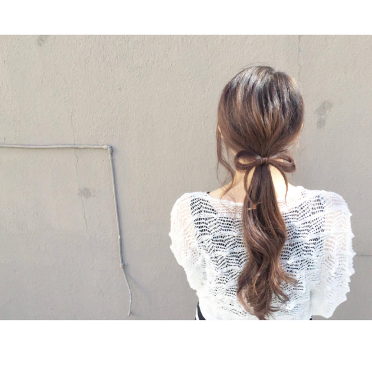 こなれ感 ショート ロング ローポニーテールヘアスタイルや髪型の写真・画像