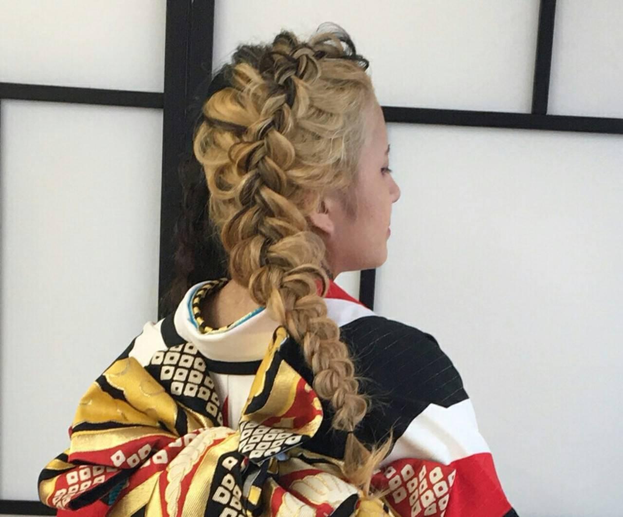和装 ヘアアレンジ 着物 編み込みヘアスタイルや髪型の写真・画像