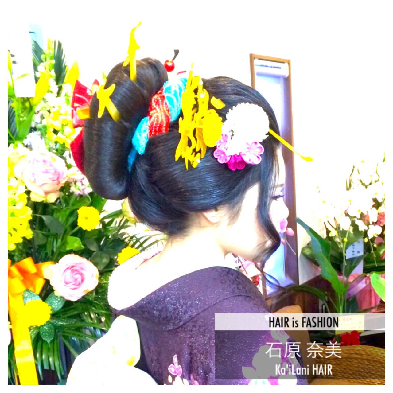 アップスタイル ヘアアレンジ セミロング 着物ヘアスタイルや髪型の写真・画像