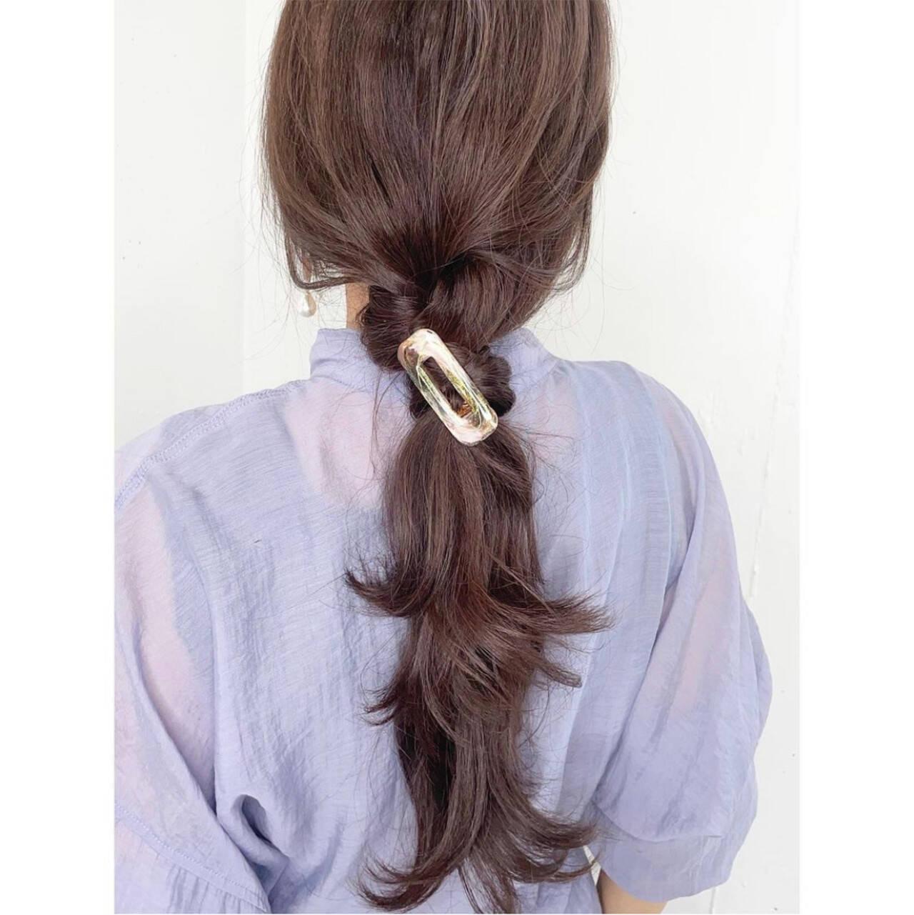 ヘアクリップ 簡単ヘアアレンジ ナチュラル ヘアアレンジヘアスタイルや髪型の写真・画像
