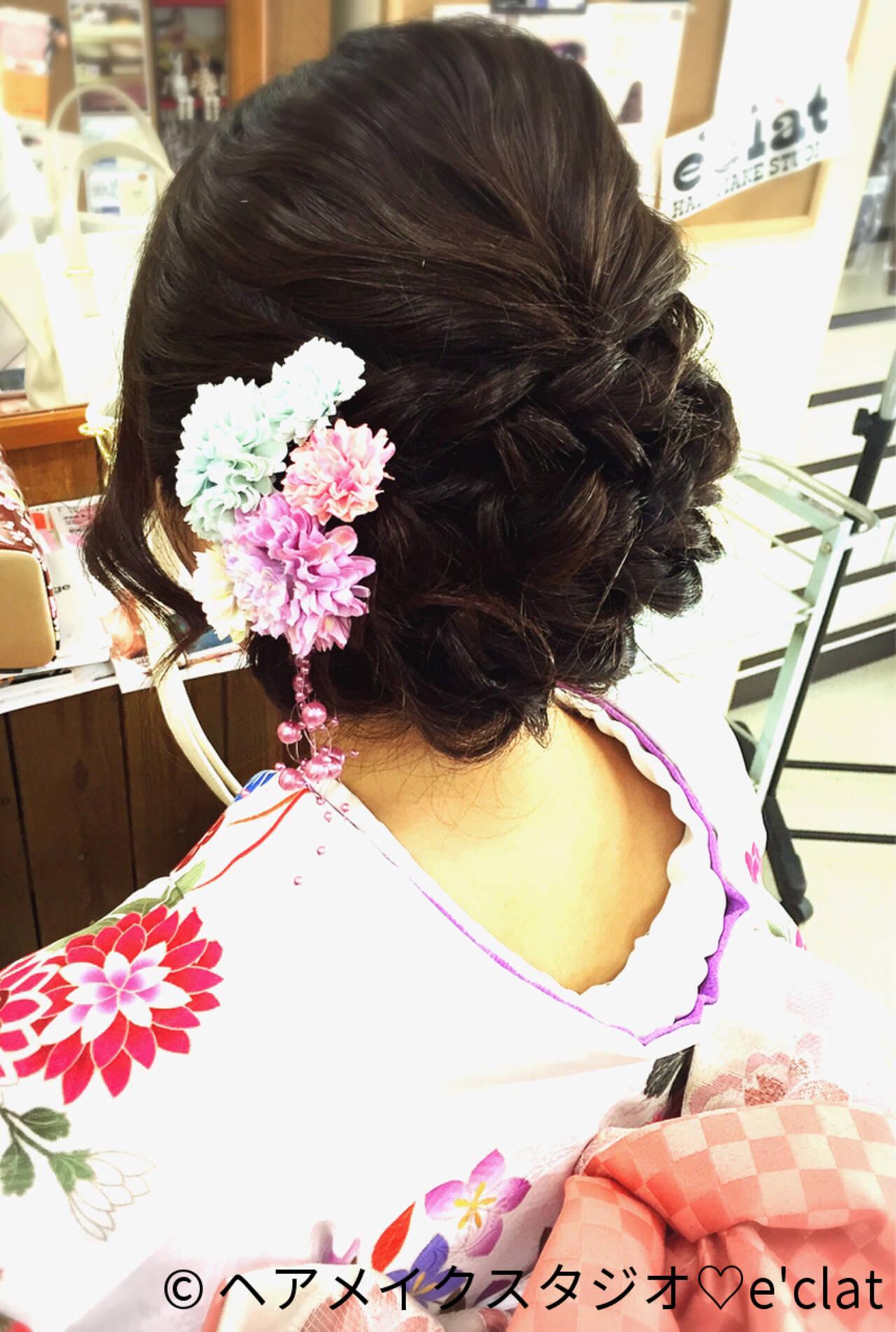 振袖 ヘアアレンジ セミロングヘアスタイルや髪型の写真・画像