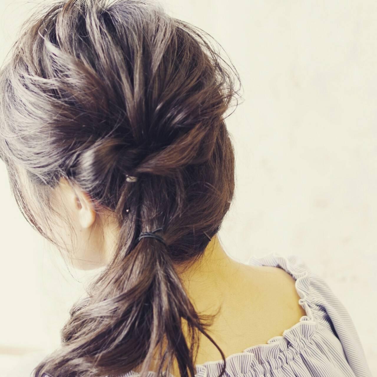 ヘアアレンジ ゆるふわ ハーフアップ ミディアムヘアスタイルや髪型の写真・画像