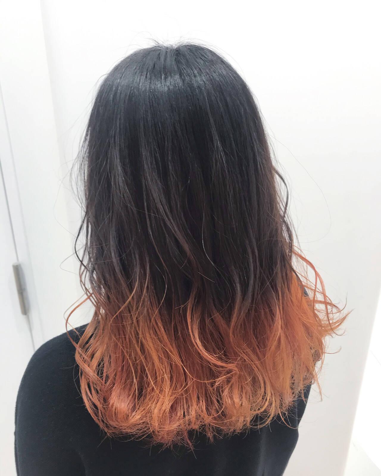 アプリコットオレンジ オレンジカラー モード オレンジヘアスタイルや髪型の写真・画像