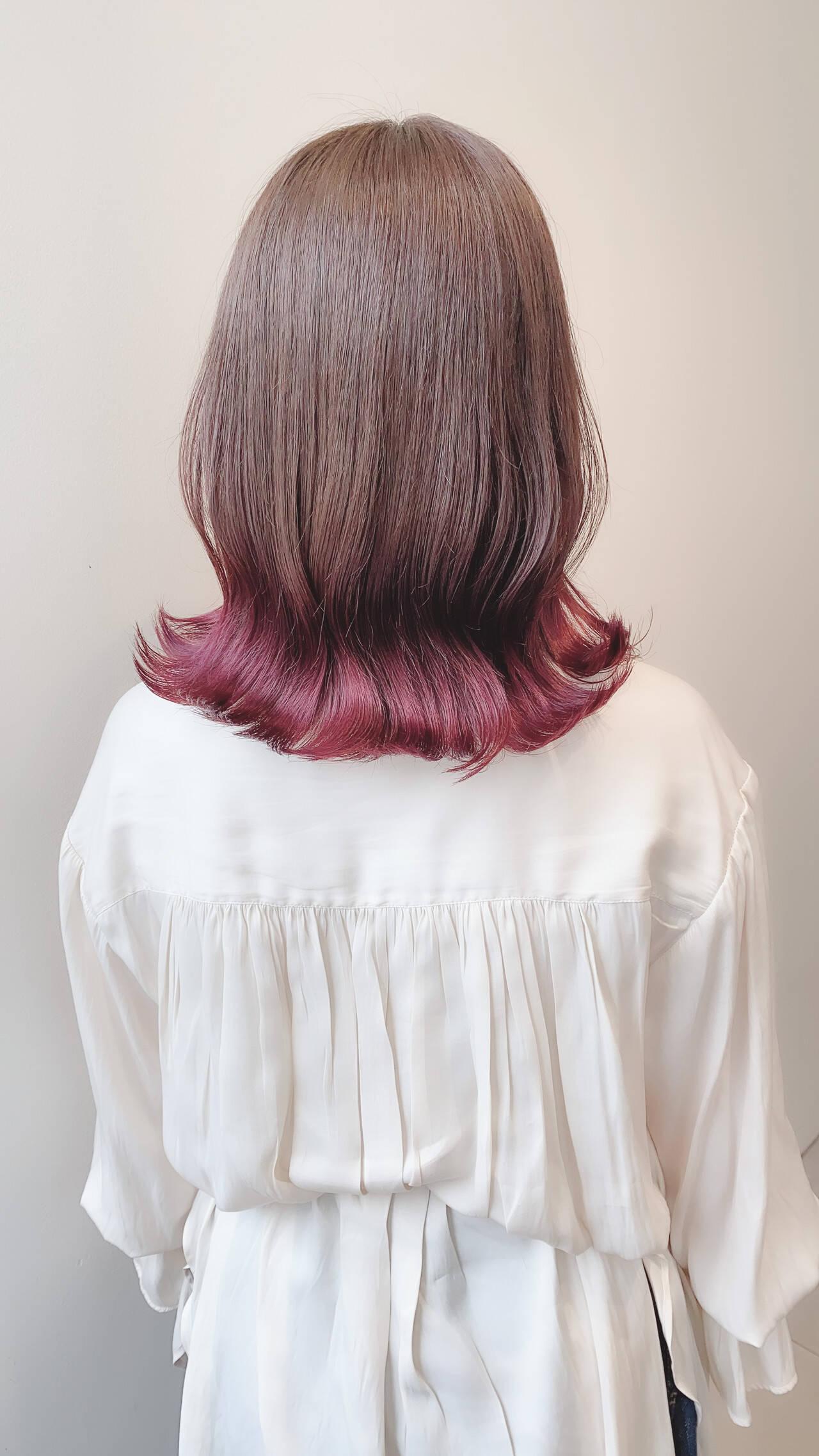 ナチュラル ラベンダーピンク インナーカラー グラデーションカラーヘアスタイルや髪型の写真・画像