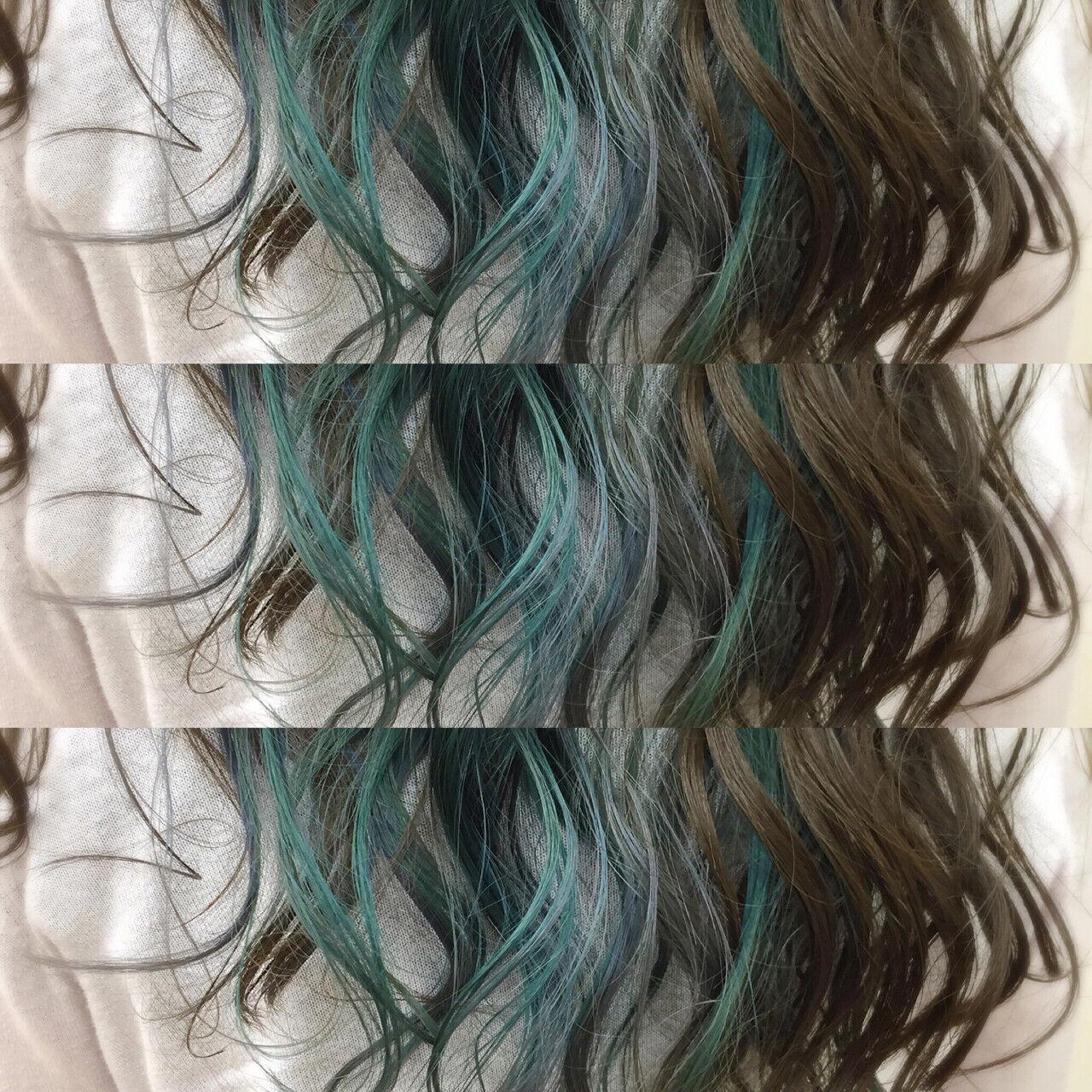 カラフルカラー インナーカラー ヘアマニキュア ハイトーンヘアスタイルや髪型の写真・画像