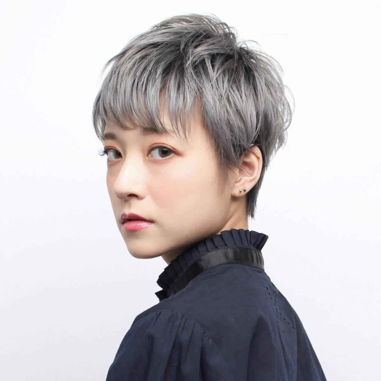 簡単ヘアアレンジ イメチェン ショート 大人ショートヘアスタイルや髪型の写真・画像