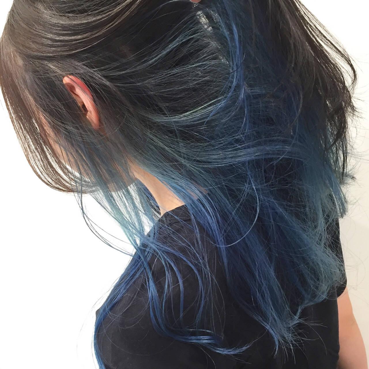 ハイトーン インナーカラー モード ロングヘアスタイルや髪型の写真・画像