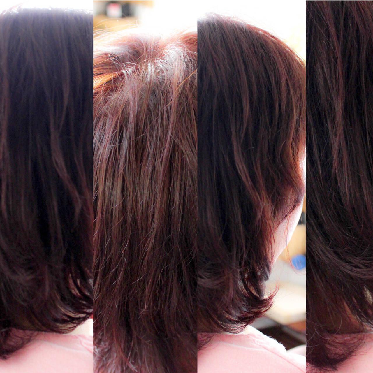色気 ピンク ボルドー ナチュラルヘアスタイルや髪型の写真・画像