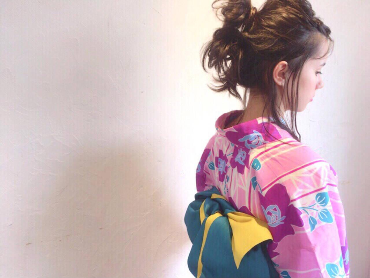 花火大会 ミディアム ナチュラル 涼しげヘアスタイルや髪型の写真・画像