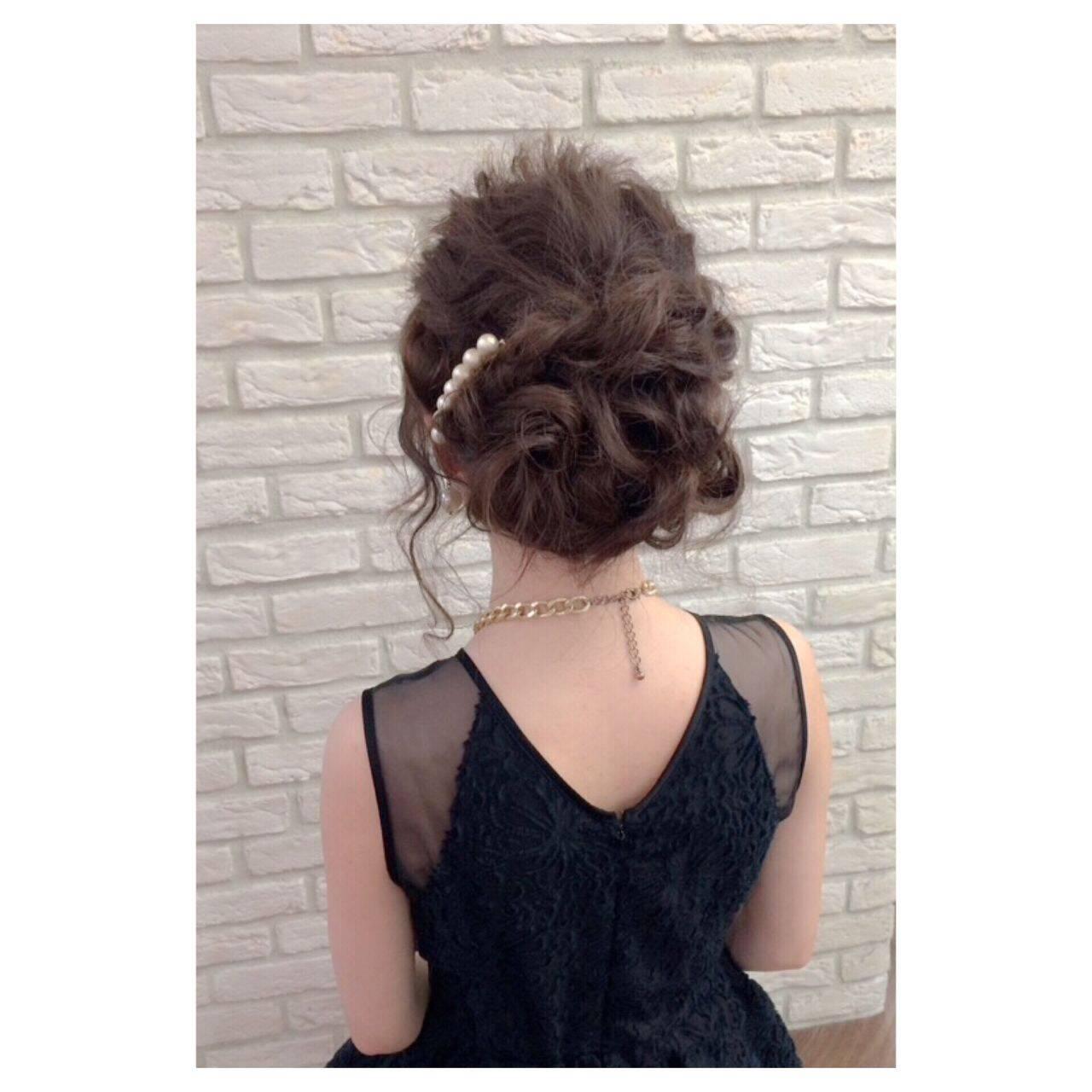 セミロング ガーリー 結婚式 夏ヘアスタイルや髪型の写真・画像