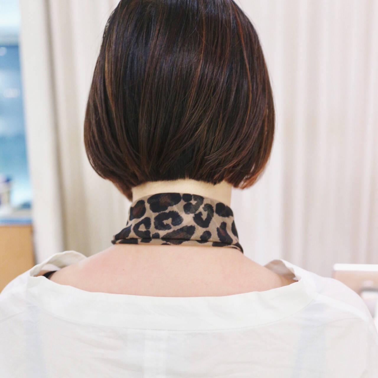 ハイライト ナチュラル ミニボブ 黒髪ヘアスタイルや髪型の写真・画像