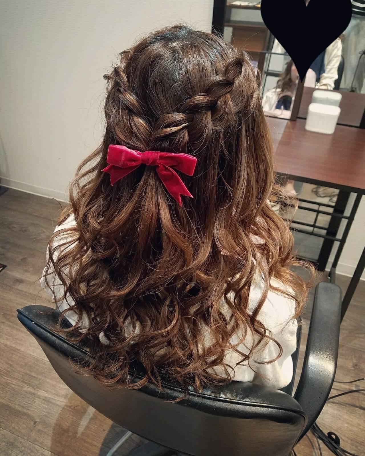 編み込み ヘアアレンジ ガーリー ハーフアップヘアスタイルや髪型の写真・画像