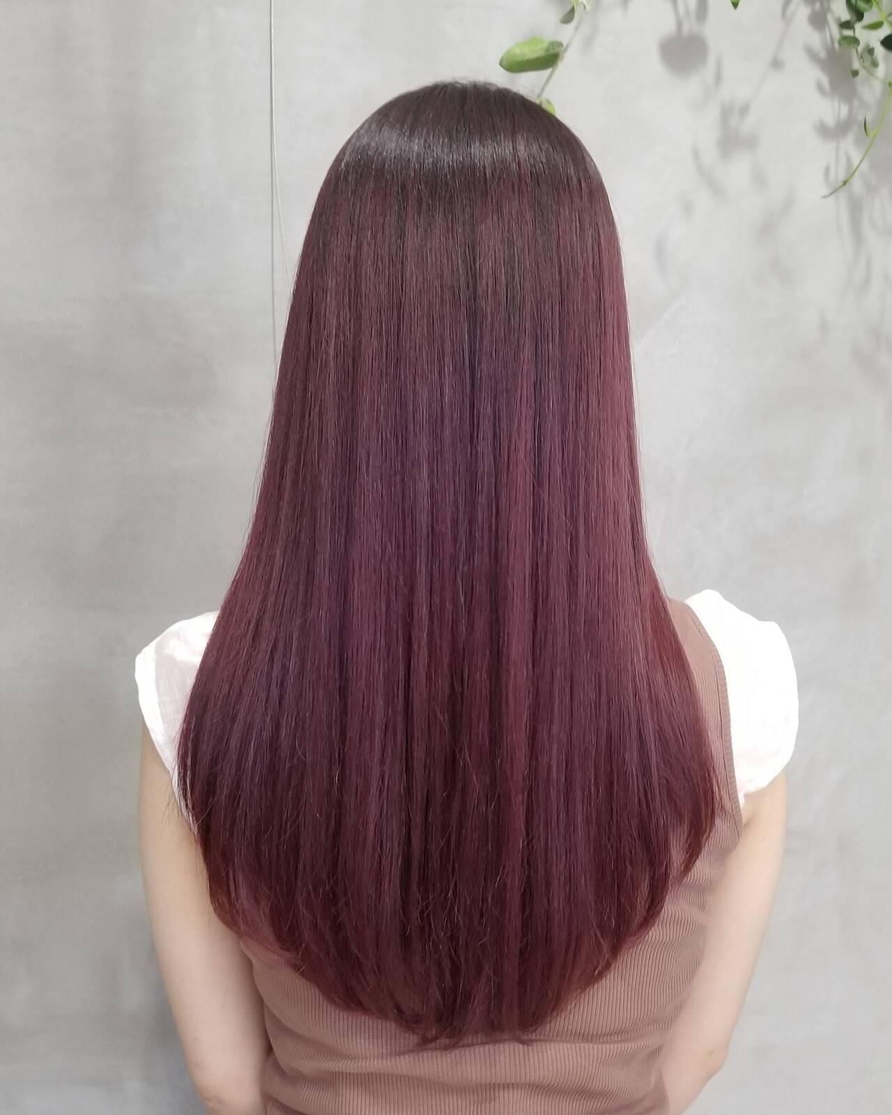 ラベンダーピンク ガーリー ロング グラデーションヘアスタイルや髪型の写真・画像