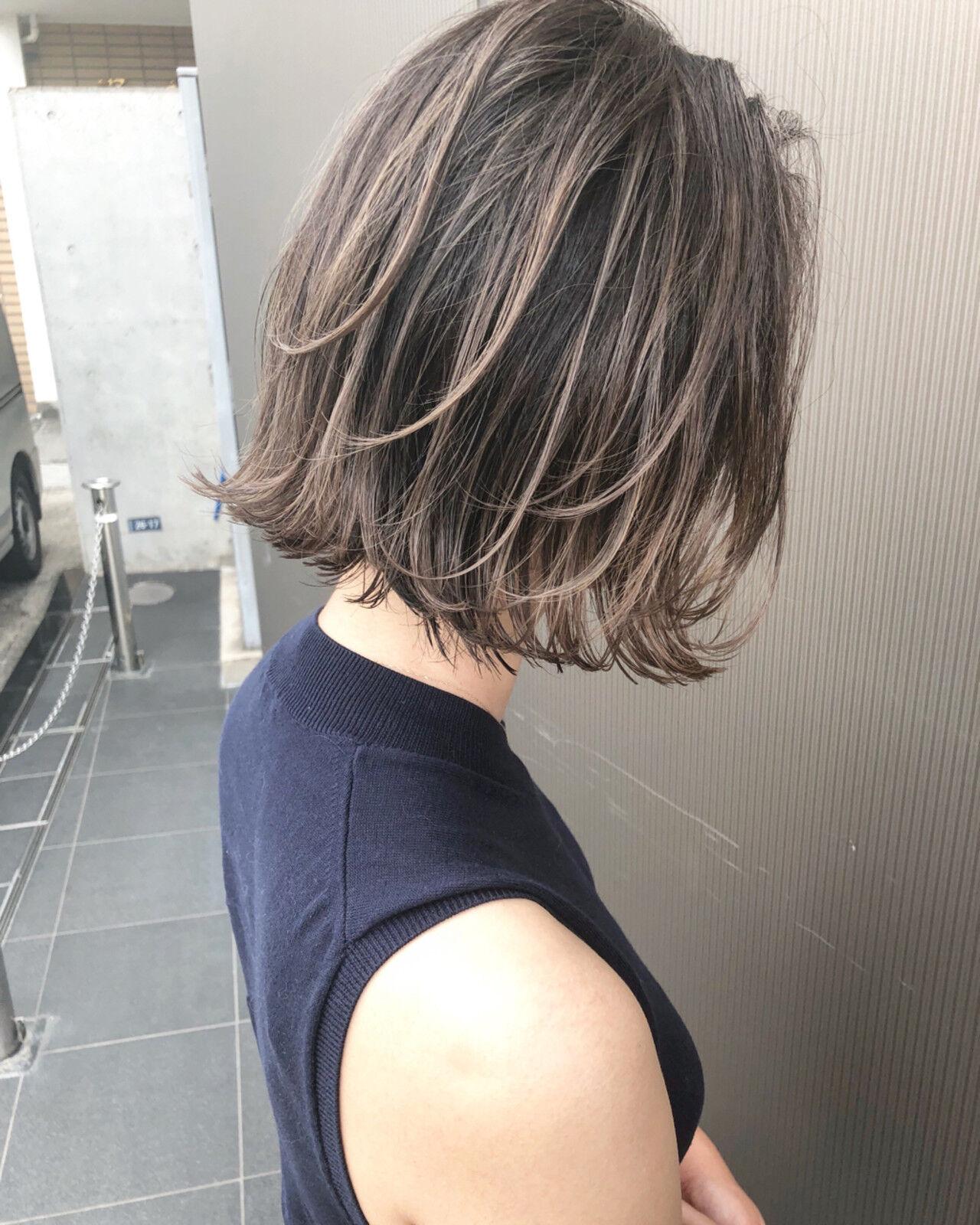女子力 ボブ 外国人風カラー グレージュヘアスタイルや髪型の写真・画像