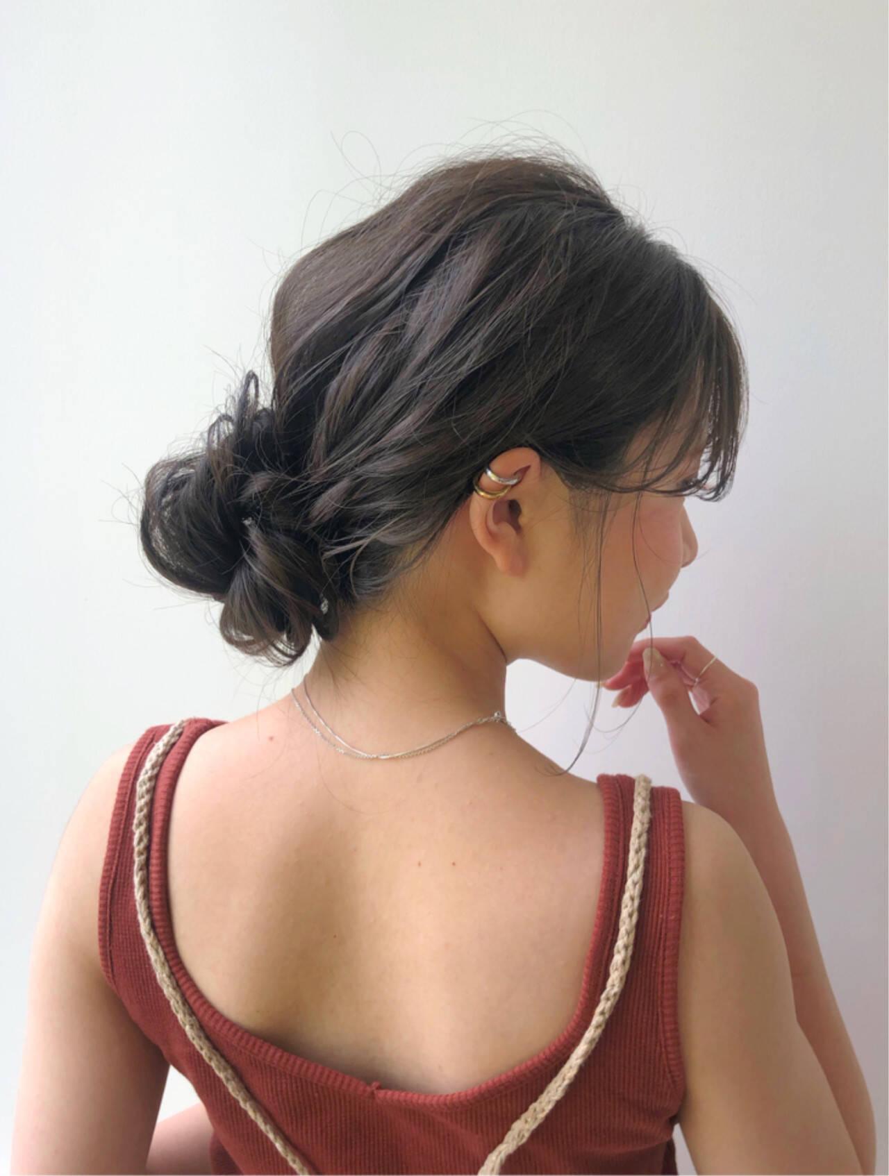 デート ヘアアレンジ ハイライト ミディアムヘアスタイルや髪型の写真・画像