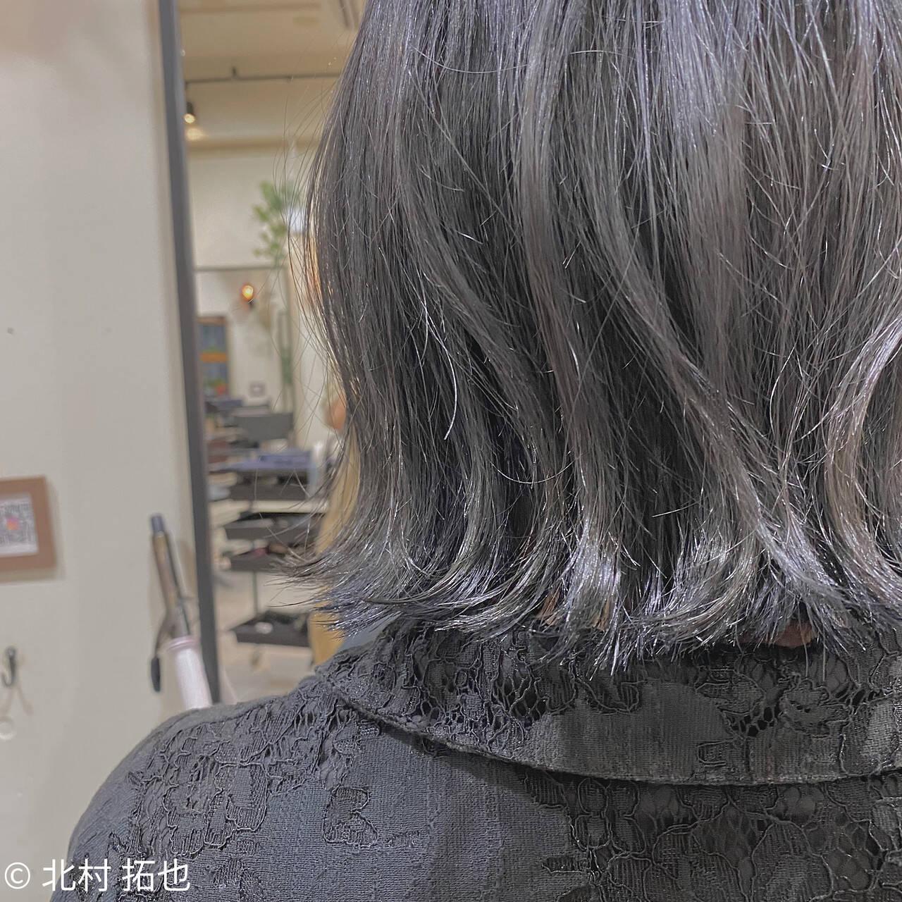 ブルージュ 透明感カラー ボブ グレージュヘアスタイルや髪型の写真・画像