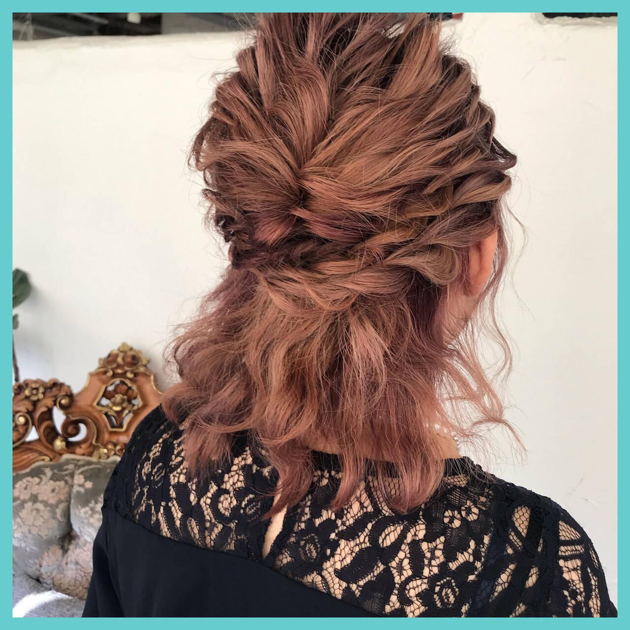 ボブ ナチュラル 結婚式 簡単ヘアアレンジヘアスタイルや髪型の写真・画像