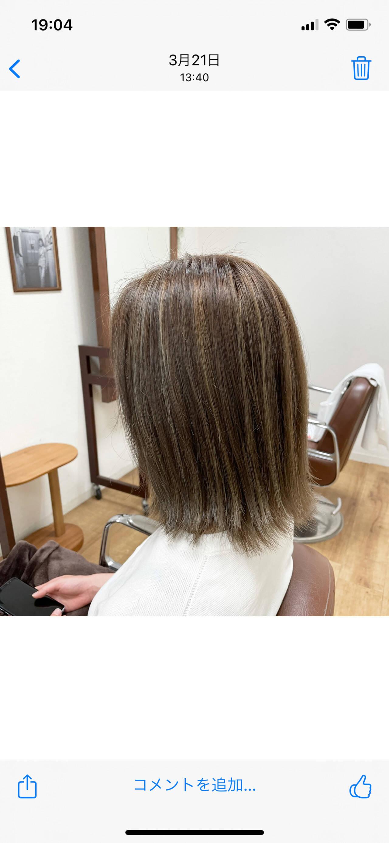 かき上げ前髪 ハイライト 外ハネ ボブヘアスタイルや髪型の写真・画像