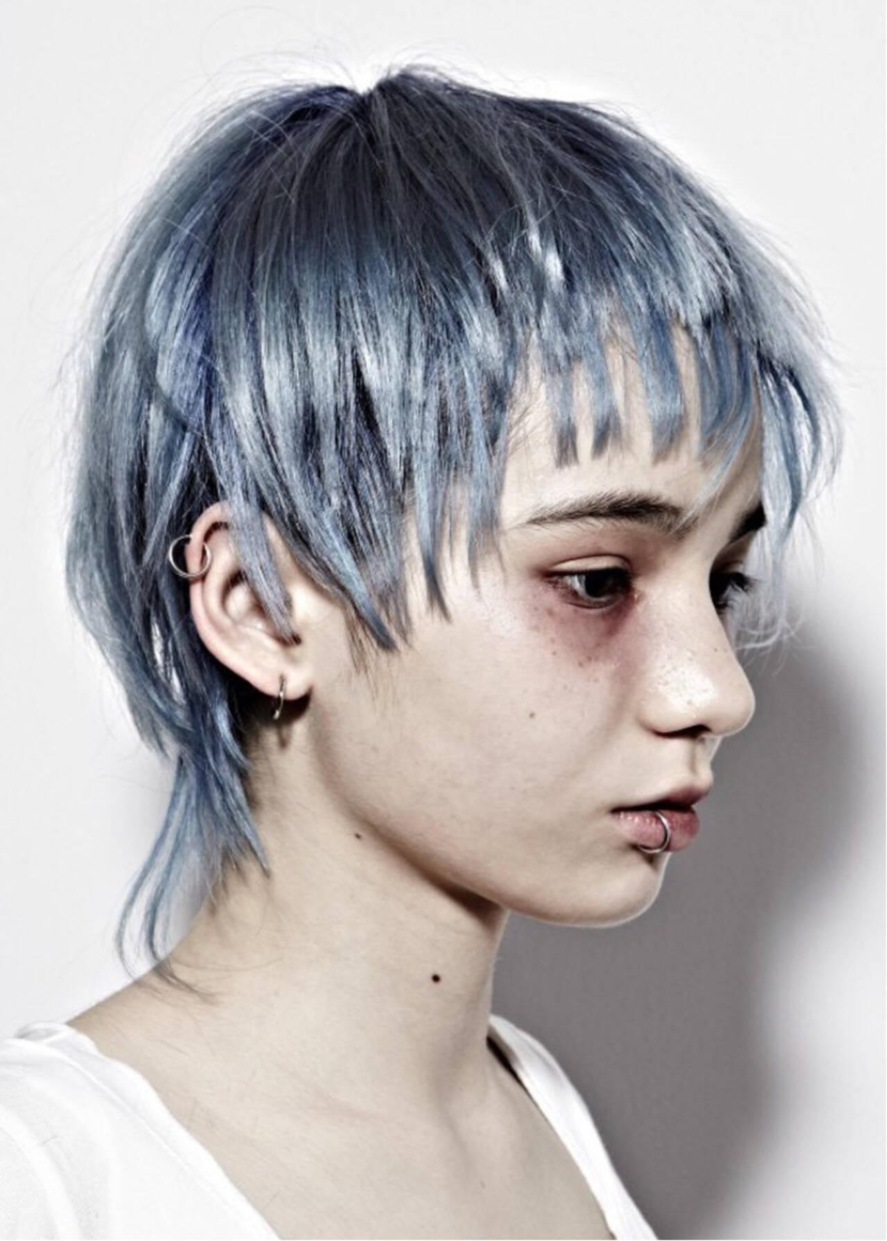 ブルーアッシュ ネイビー モード かっこいいヘアスタイルや髪型の写真・画像
