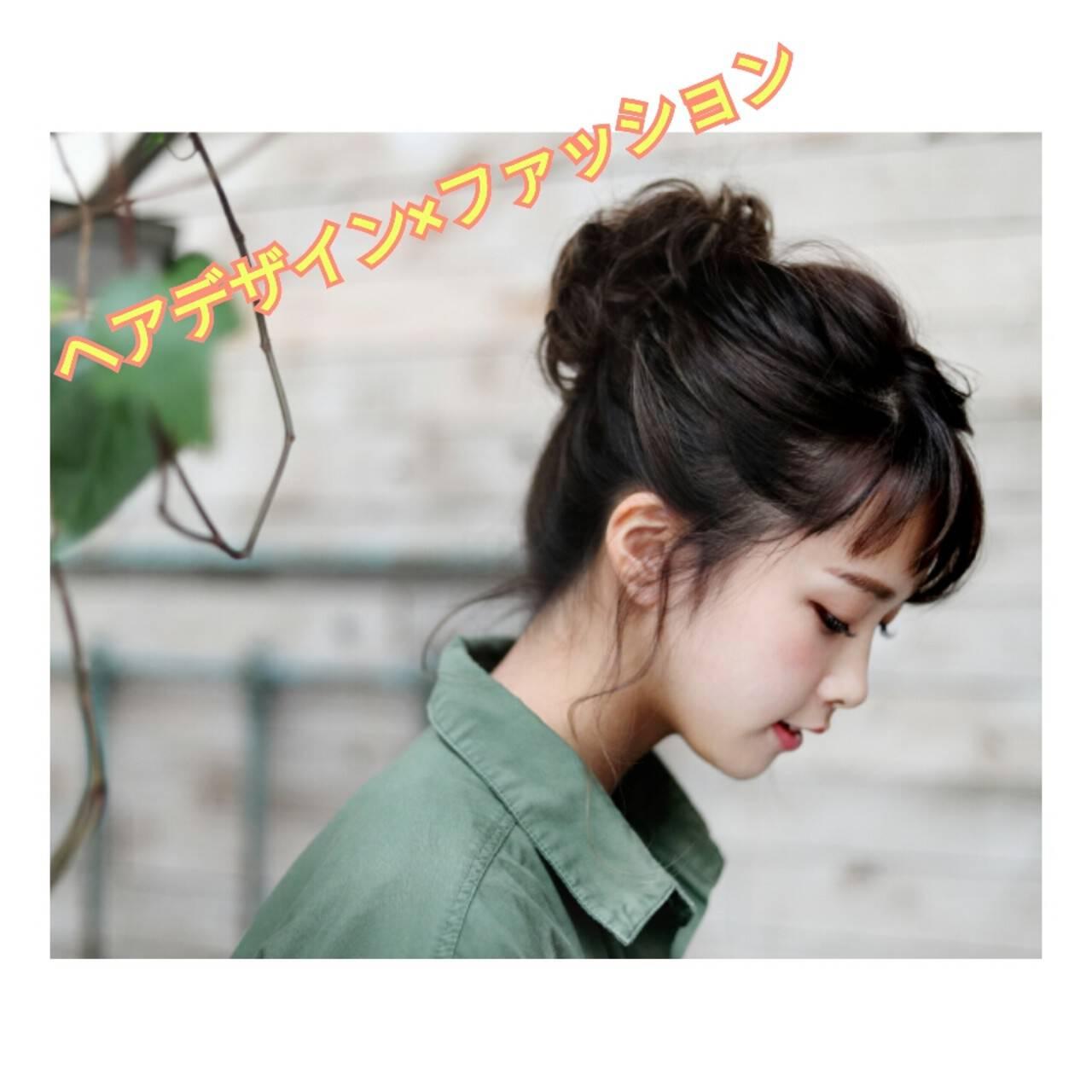 ヘアアレンジ お団子 ルーズ セミロングヘアスタイルや髪型の写真・画像