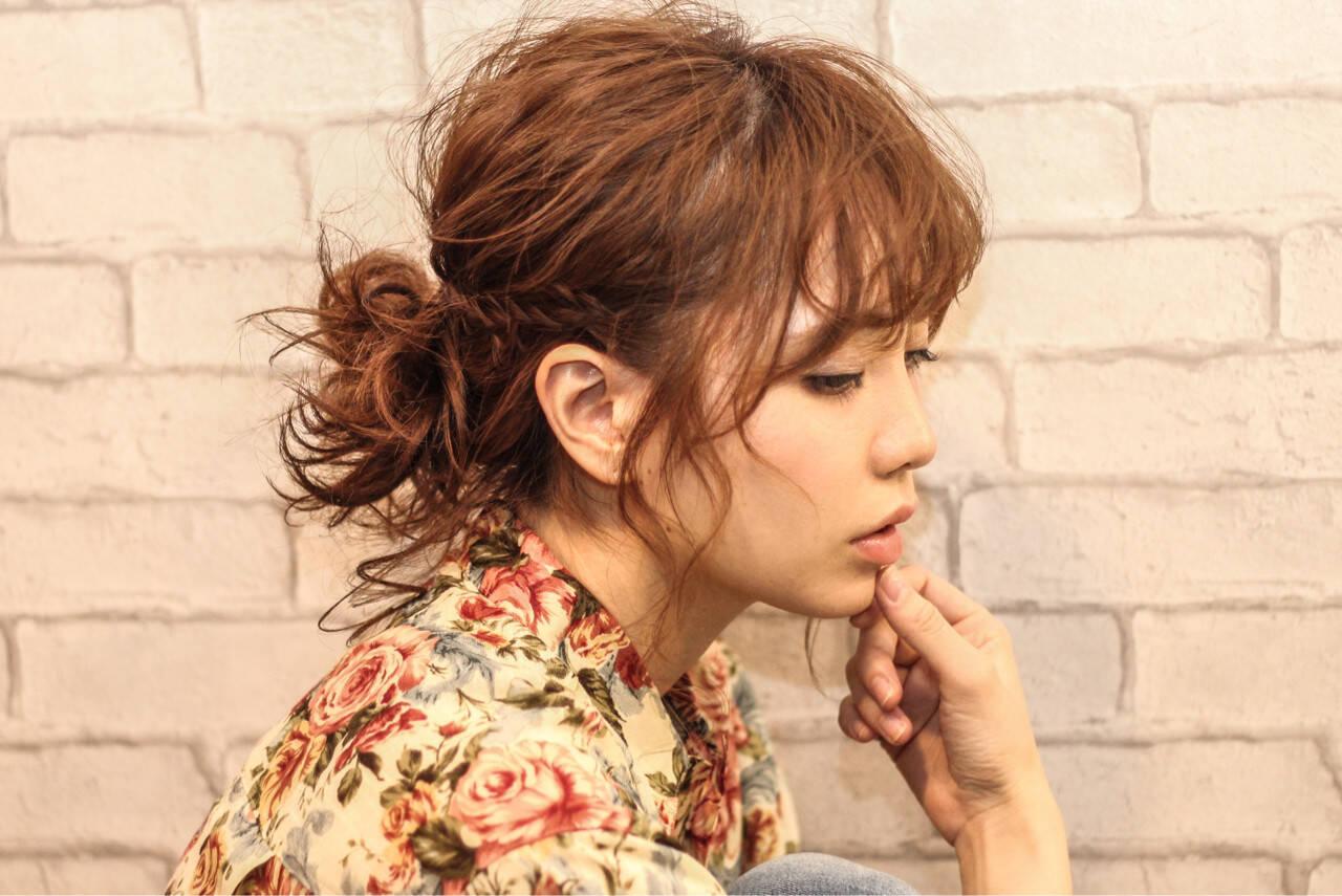 メッシーバン ミディアム ショート ポニーテールヘアスタイルや髪型の写真・画像