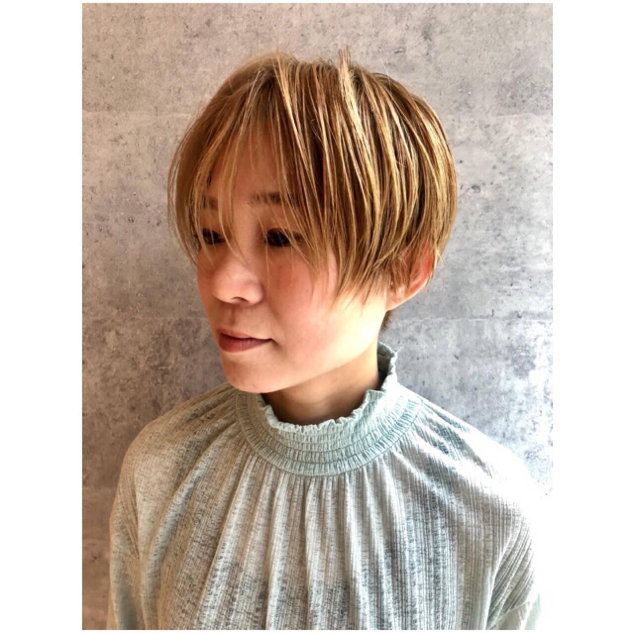 似合わせ 小顔 ショート マッシュヘアスタイルや髪型の写真・画像