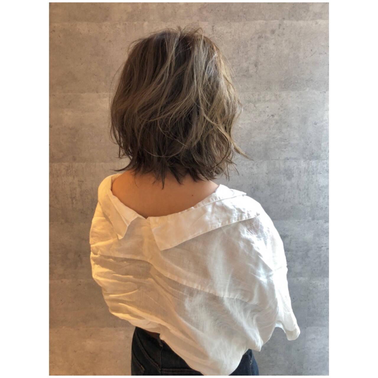 ミディアム 大人女子 ボブ 3Dカラーヘアスタイルや髪型の写真・画像
