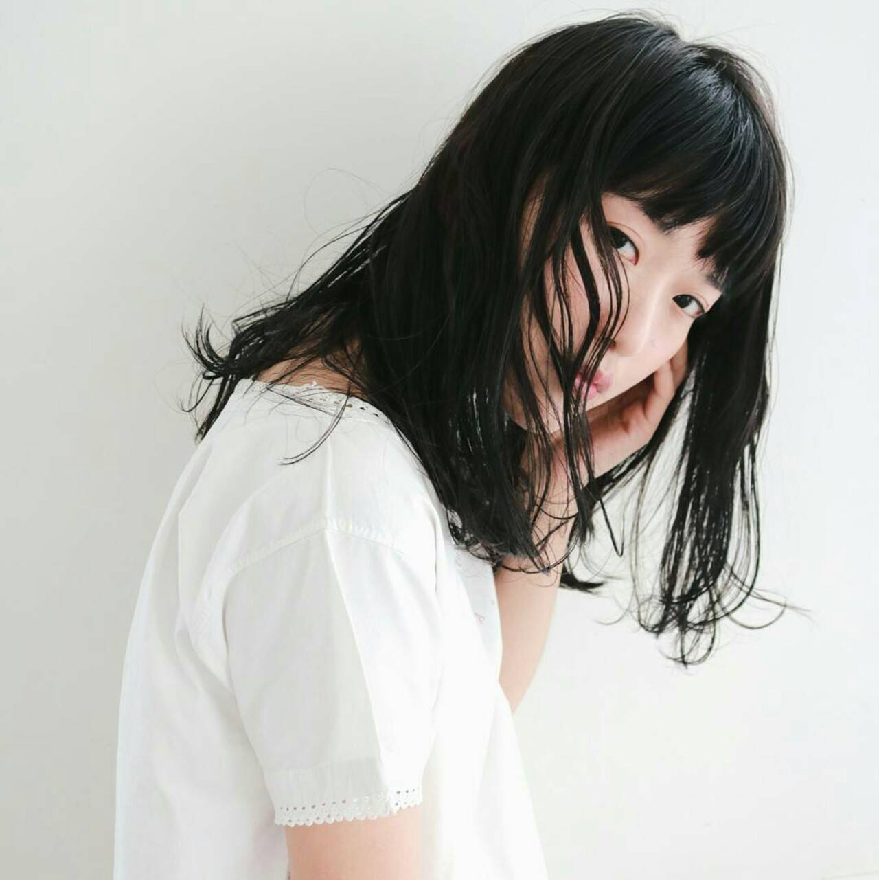 小顔 黒髪 大人女子 こなれ感ヘアスタイルや髪型の写真・画像