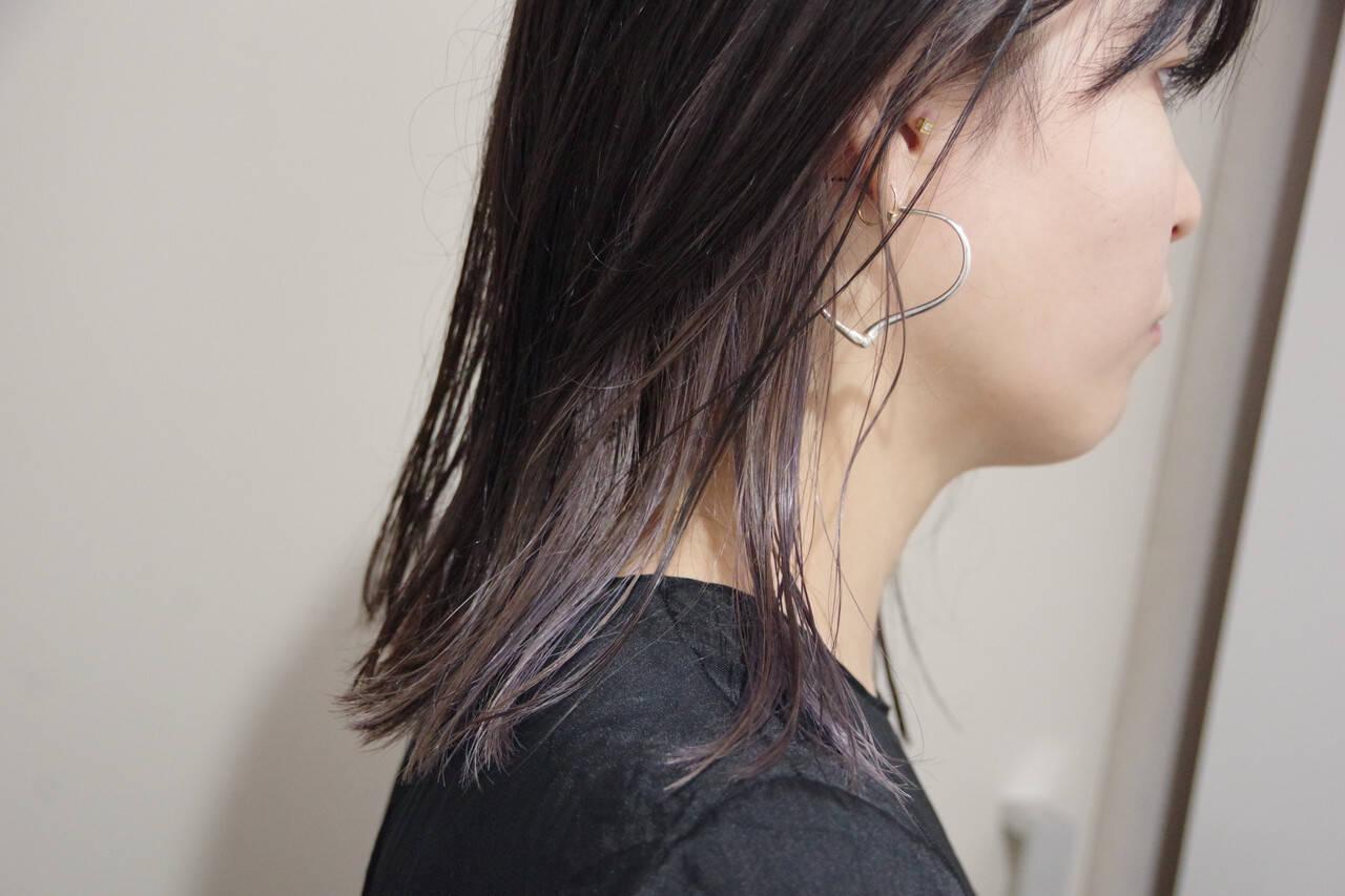 ミディアム ナチュラル ワイドバング 暗髪ヘアスタイルや髪型の写真・画像