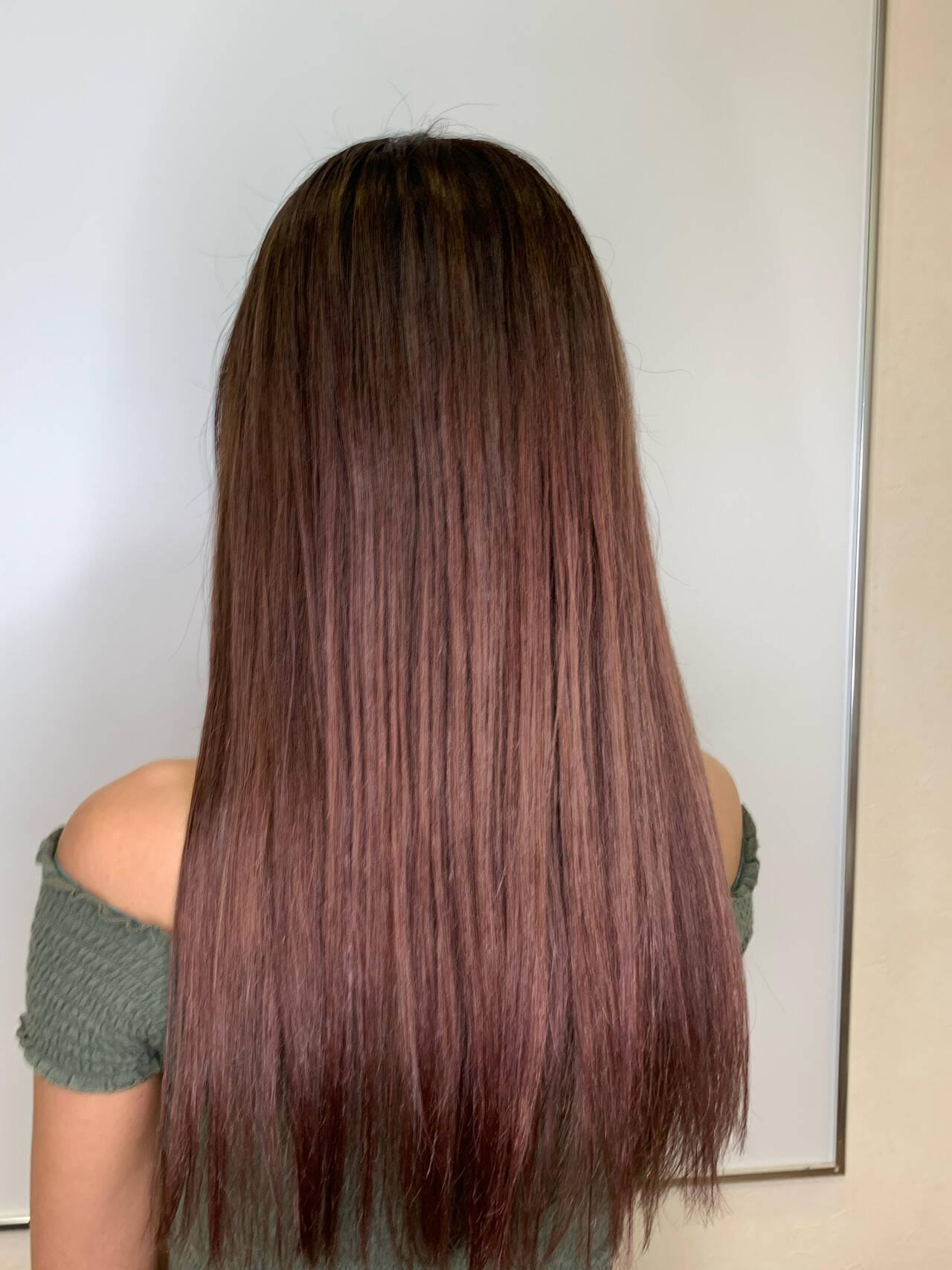 ピンク ロング ピンクブラウン エレガントヘアスタイルや髪型の写真・画像