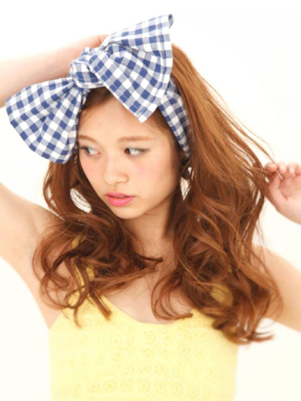 ロング ガーリーヘアスタイルや髪型の写真・画像