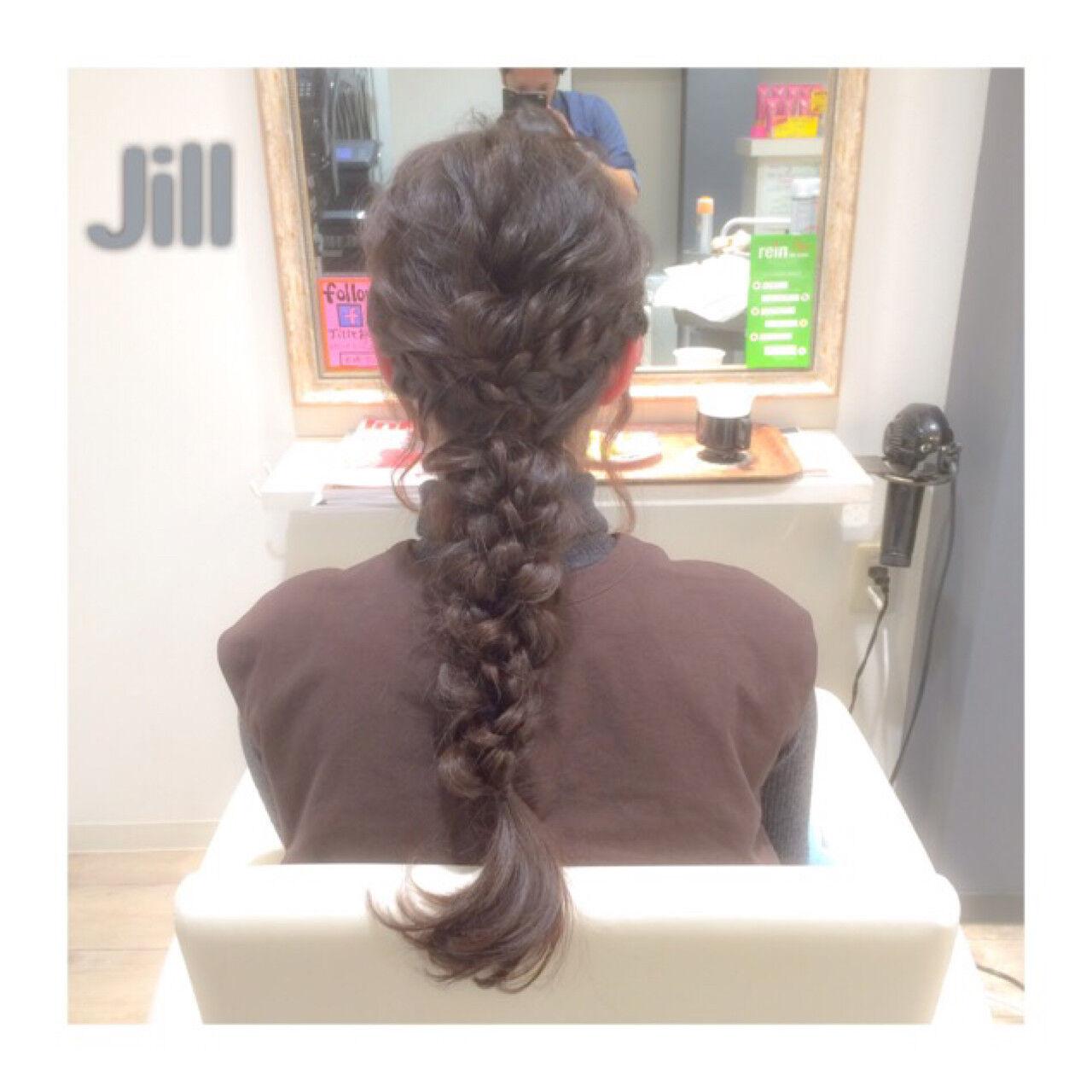 波ウェーブ ヘアアレンジ 三つ編み 編み込みヘアスタイルや髪型の写真・画像