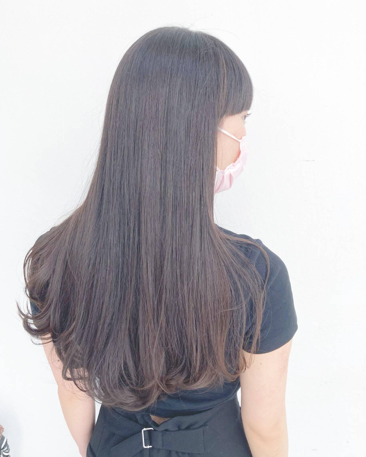 前髪 インナーカラー 髪質改善トリートメント ナチュラルヘアスタイルや髪型の写真・画像