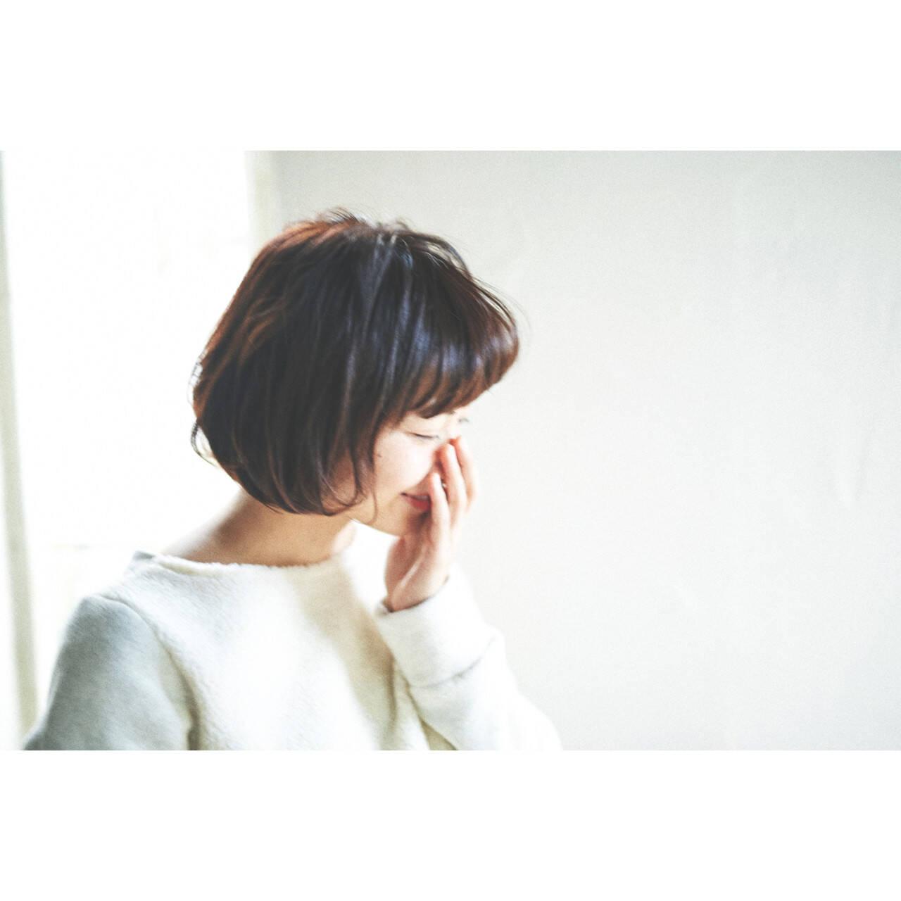簡単 ボブ フェミニン ナチュラルヘアスタイルや髪型の写真・画像