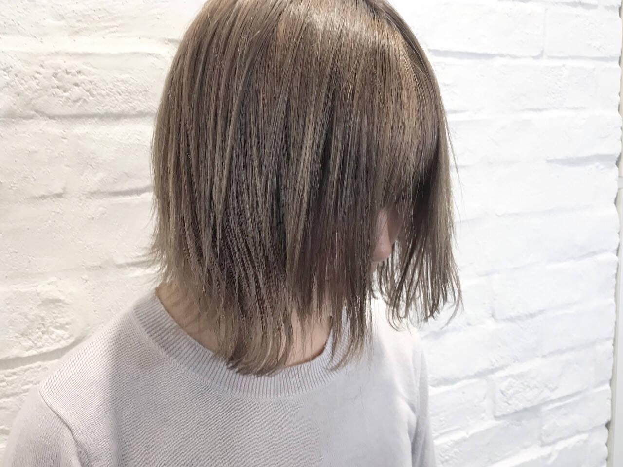 ハイライト ナチュラル ボブ ハイトーンヘアスタイルや髪型の写真・画像