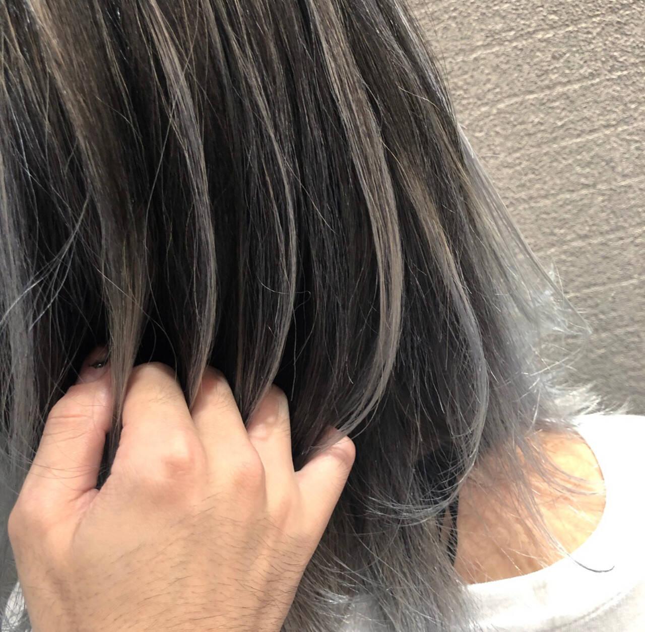 外国人風 3Dハイライト ミディアム ストリートヘアスタイルや髪型の写真・画像