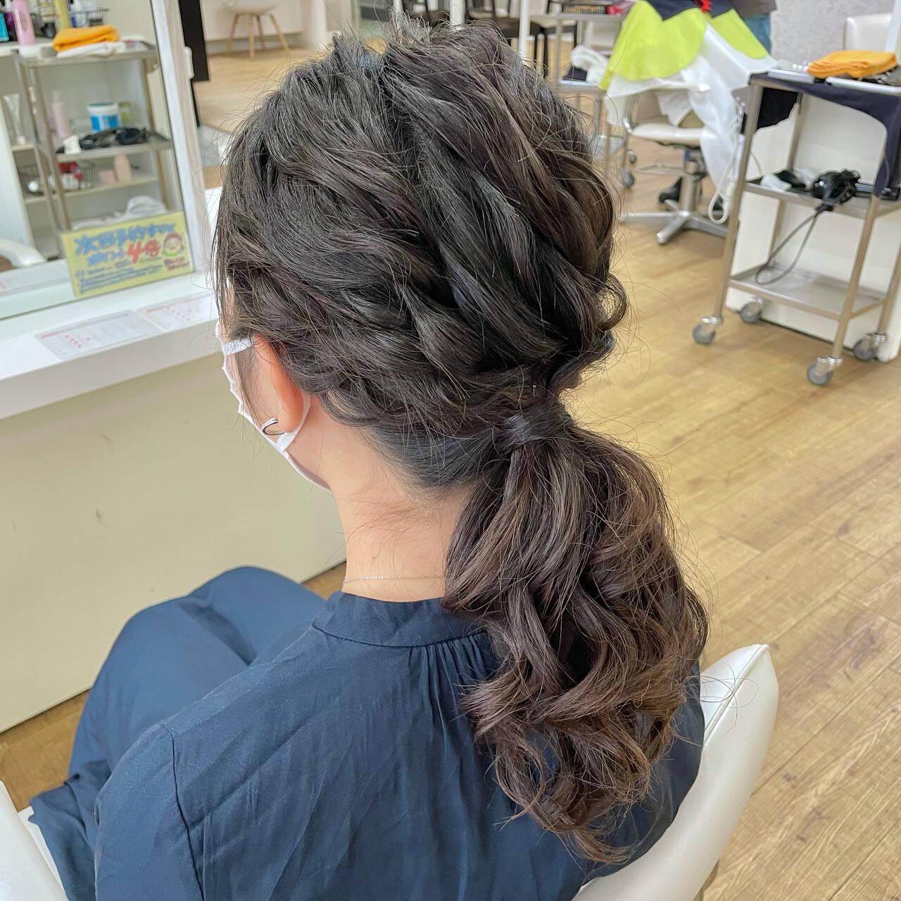 お呼ばれヘア フェミニン 大人かわいい 結婚式アレンジヘアスタイルや髪型の写真・画像