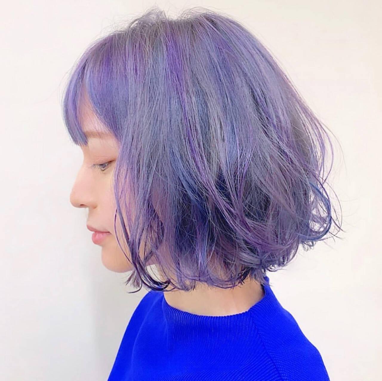 ユニコーンカラー ブルー ガーリー ブルーラベンダーヘアスタイルや髪型の写真・画像