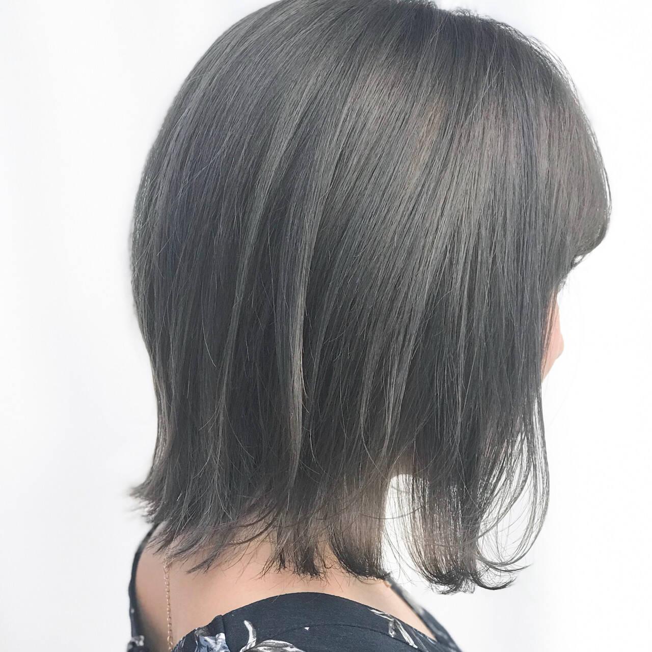 ショートバング ミニボブ モード ボブヘアスタイルや髪型の写真・画像
