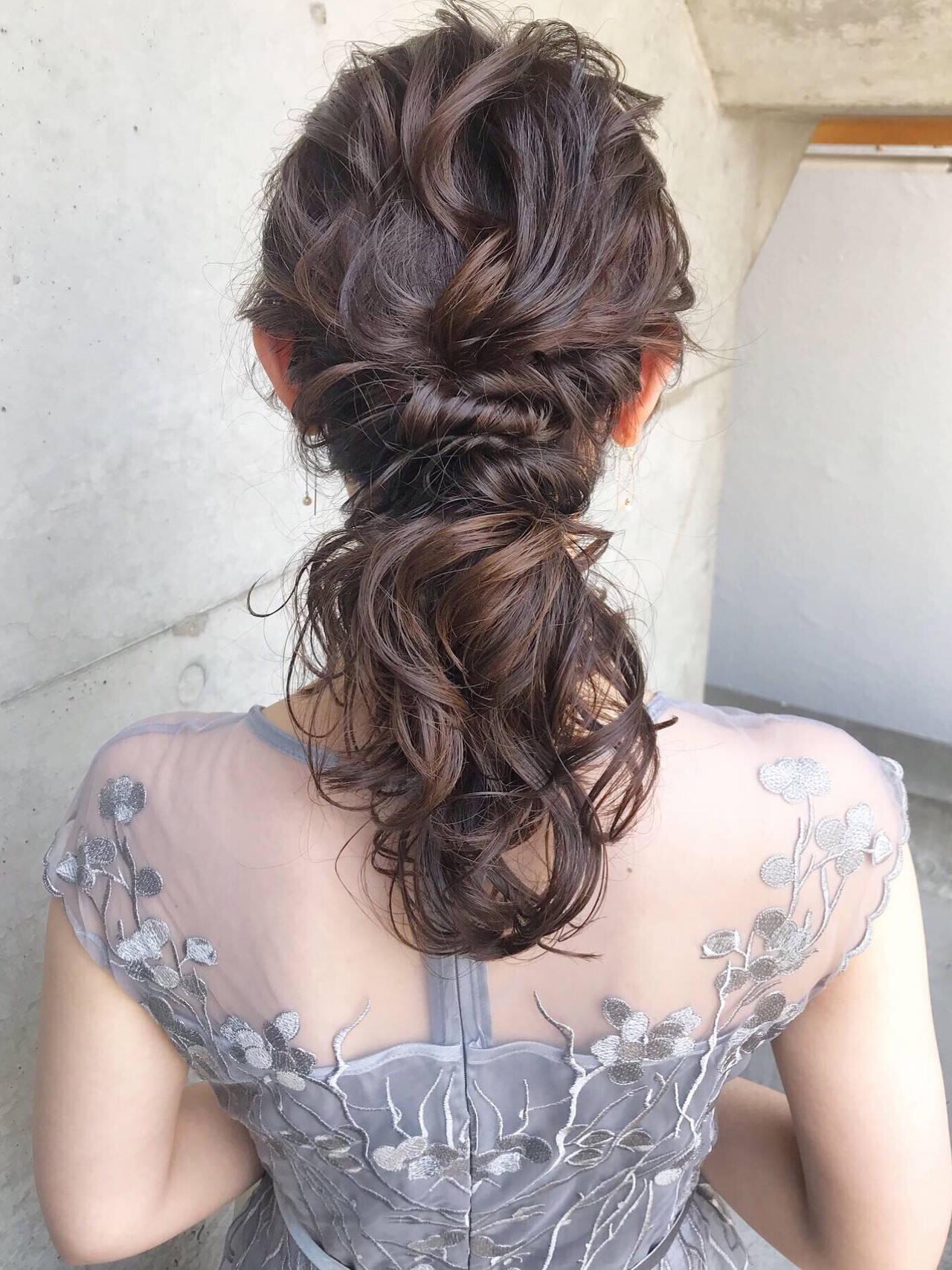 結婚式ヘアアレンジ デート セミロング ガーリーヘアスタイルや髪型の写真・画像