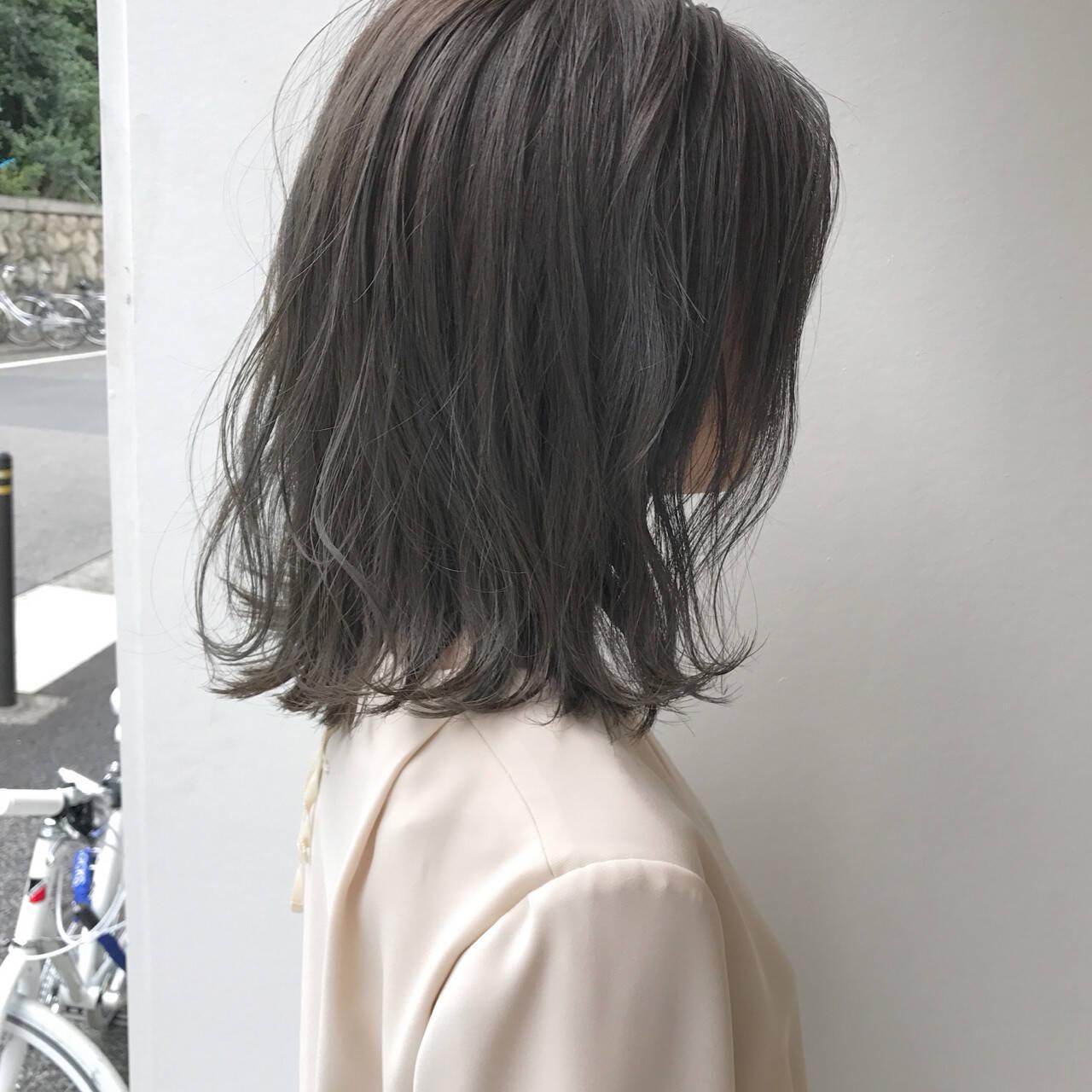 切りっぱなし 透明感 ハイライト ロブヘアスタイルや髪型の写真・画像