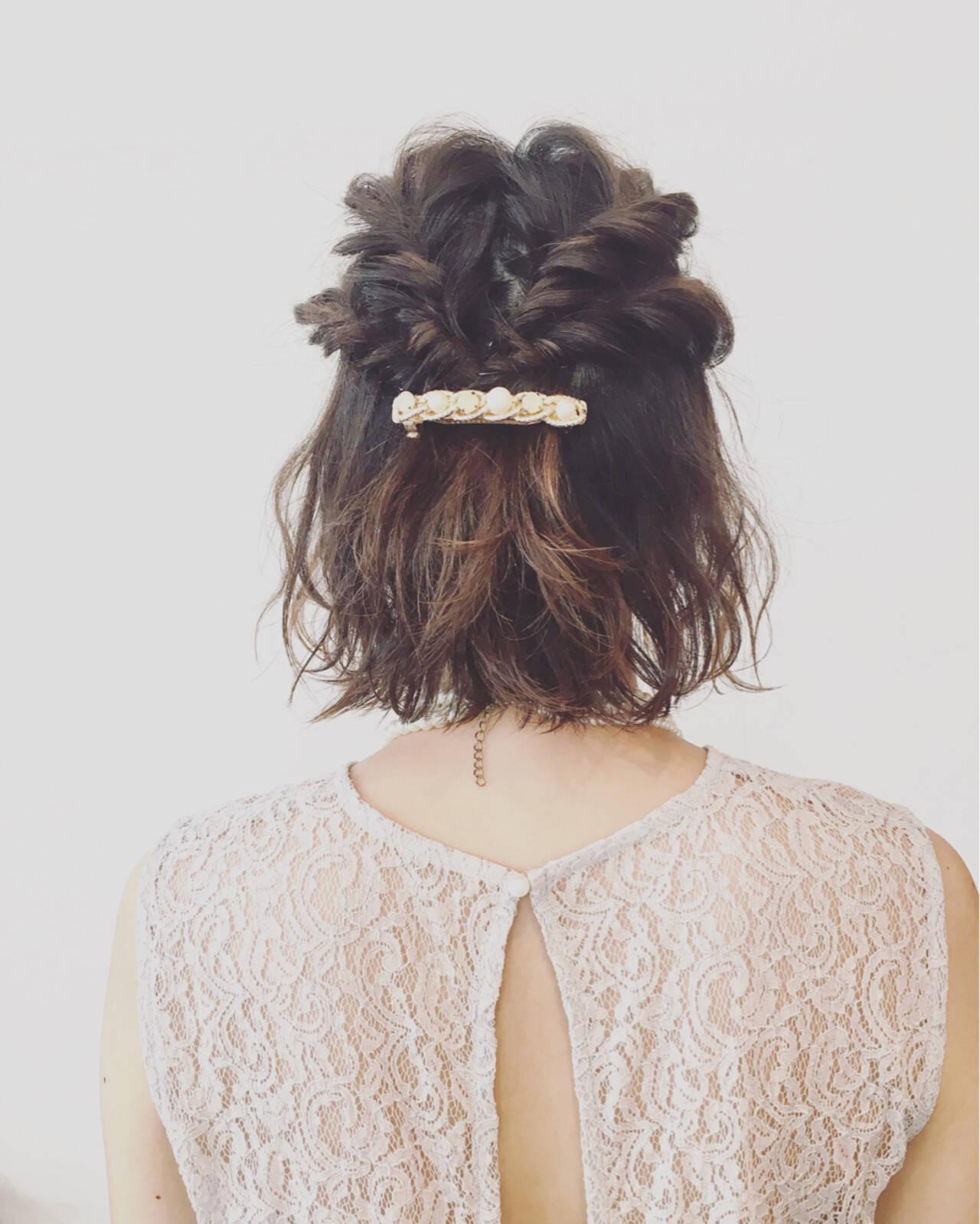 編み込み ハーフアップ ヘアアレンジ パーティヘアスタイルや髪型の写真・画像